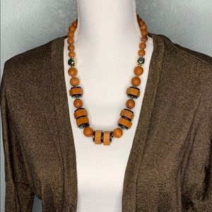 Jewelry - WOODEN BEADED, BLACK AND GOLD NECKLACE